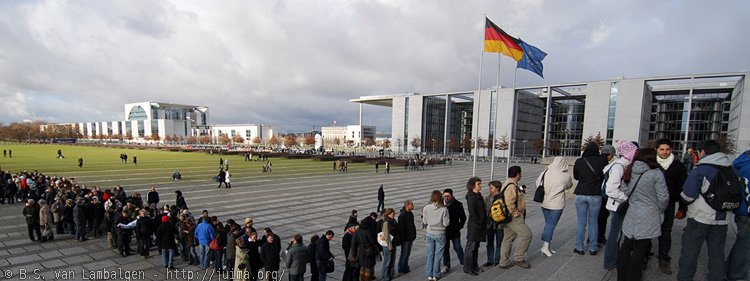 Standing in line for the Reichstag