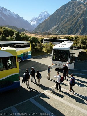 Tourists at Mt. Cook Village