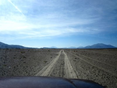 Barren road through the desert