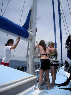 Hoisting the sails, a lot of hard work