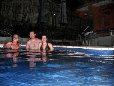 Cooling off in the pool after the sauna with Laura and Ville