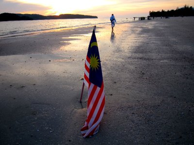 Malaysian flag on the beach
