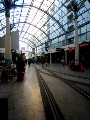 The tram goes right through the shopping centre!