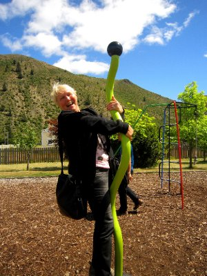 Suze pole dancing in the playground