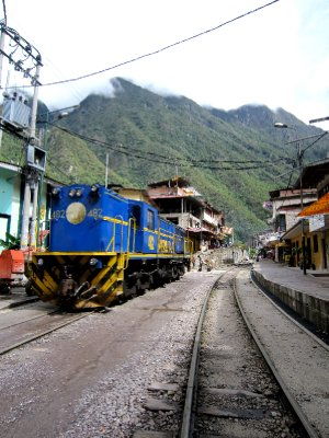 Agues Calientes, the train line runs right through the middle of town