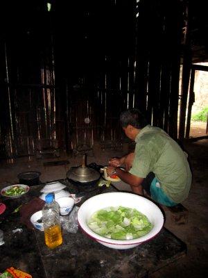 Thet preparing dinner at the monastery