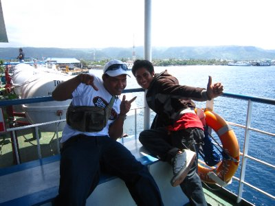 Jiji and bandi on the ferry to Java