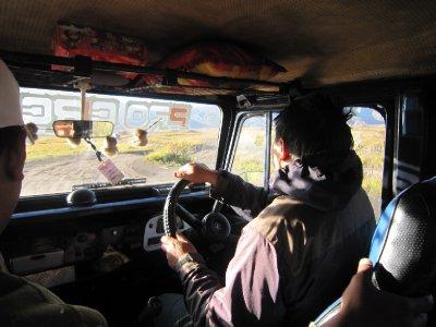 Jeep across the volcanic ash