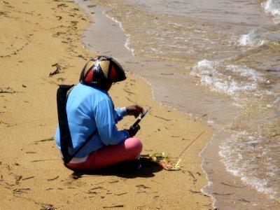 Praying before he goes fishing