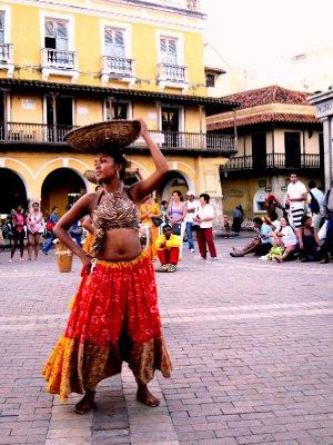 Dancing in historic centre of Cartagena de Indias