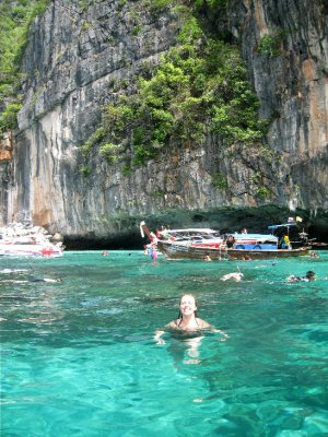 Taking a dip, Koh Phi Phi Leh