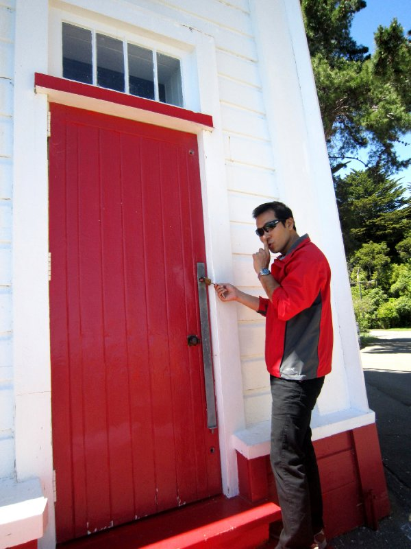 The lighthouse was locked, Maxx reckoned his room key was special and could unlock all doors!