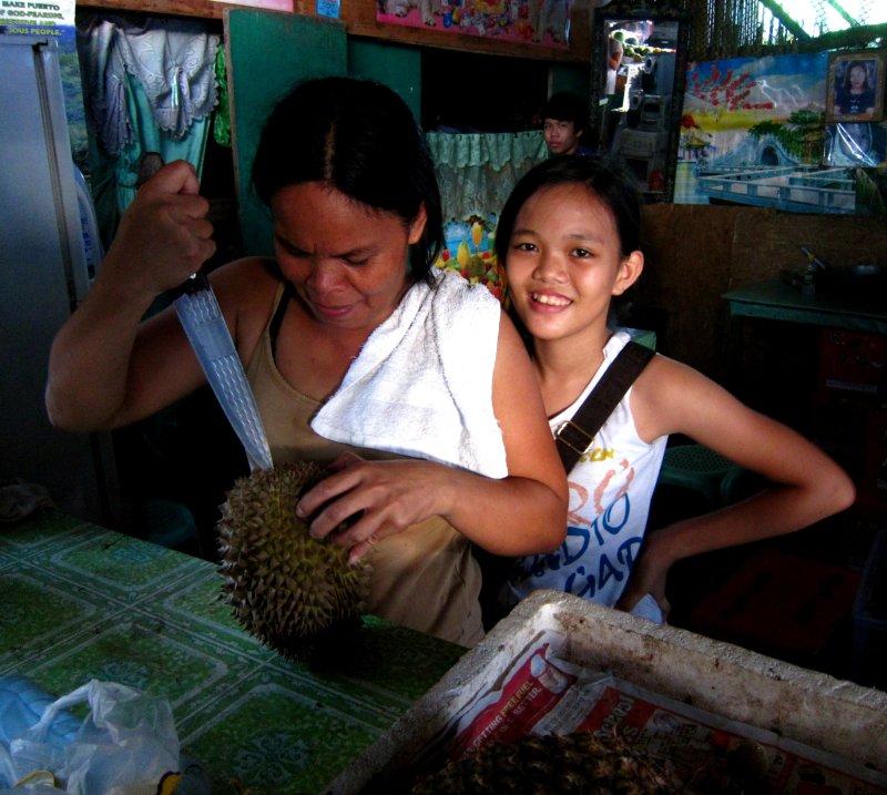 preparing durian