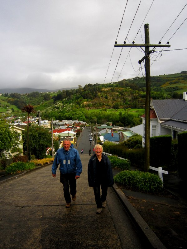 Poul and Suze make the summit of the steepest street in the world
