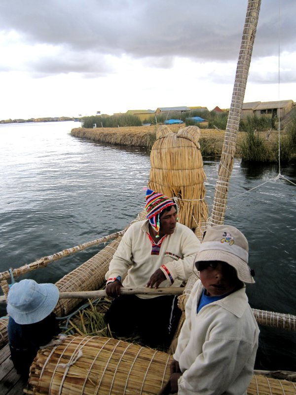 Traditional boat, Uros floating Island, Lake Titicaca