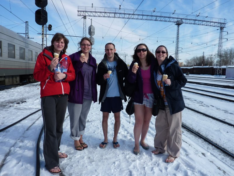 Icecreams n snow on the platform