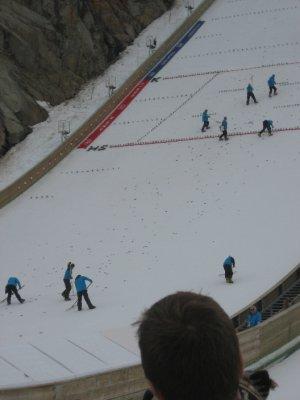 Preparing for the ski jump