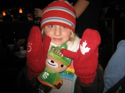 Madison and the torch bearer's Olympic mitts. We located a pair!