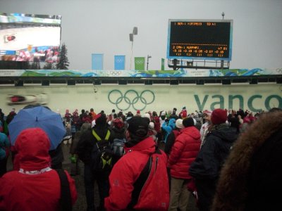 Can you find the Canadian women's bobsled? Nine out of ten times, the bobsled is faster than the camera.