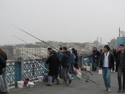 fishing the Golden Horn, Galata bridge