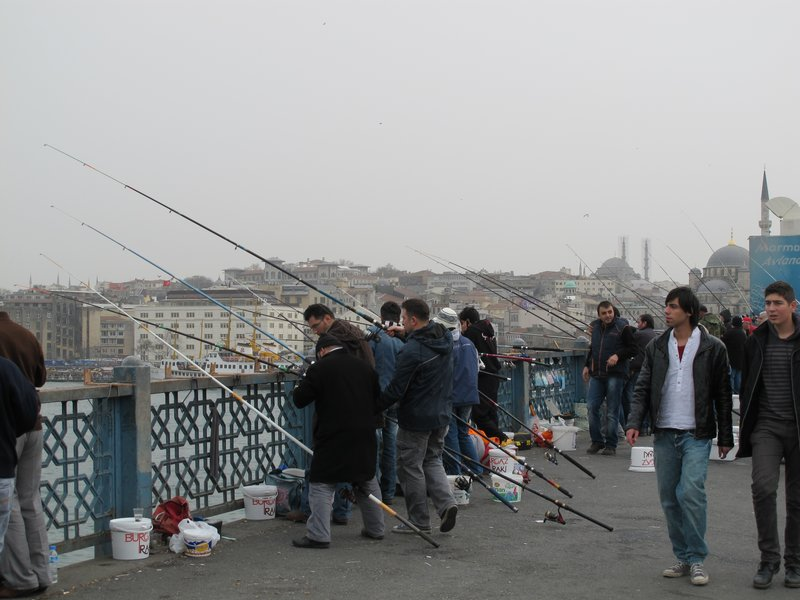 fishing the Golden Horn, Galata bridge