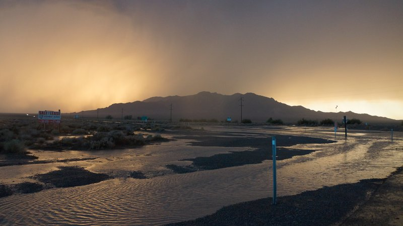 Sunset through a Death Valley storm