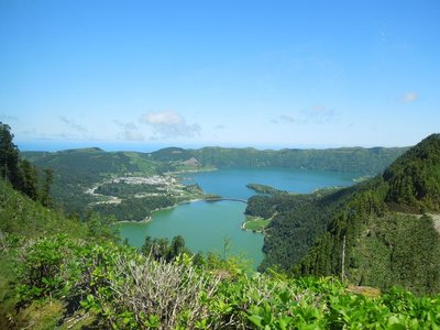 Green and Blue Twin Volcanic Lakes