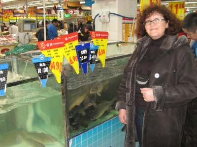 with fishes in Carrefour