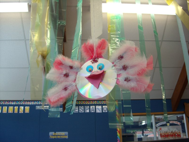 Many adorable CD Birds were hanging in a Auckland school library