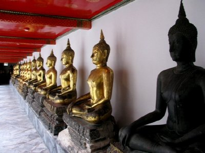 Lined Buddhas of Wat Pho, Bangkok Thailand
