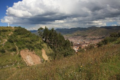 View of White Christ and Cusco from Sacsayhuaman