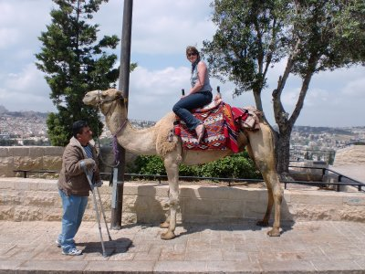 My first camel ride experience on the Mount of Olives in Jerusalem