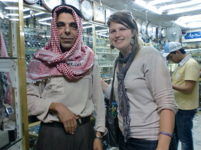 This funny guy in Amman showed me how to fix his head scarf tightly