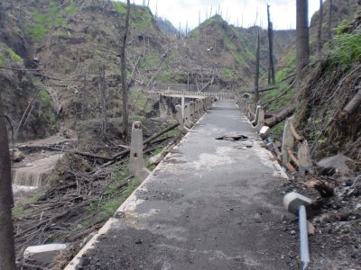 distroyed bridge around Merapi volcano