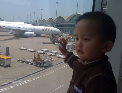 Lucas at the HK airport