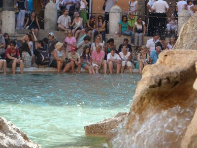 Cooling off in the Trevi - before the cops get us!