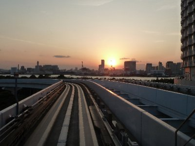 Sunset over the monorail Adiaba