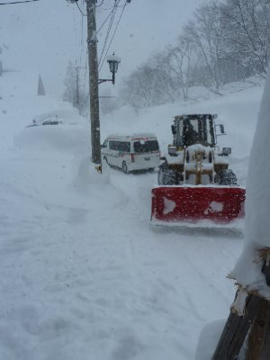 Pulling our bus out of the snow