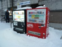 Ice cold vending machines selling hot chocolates