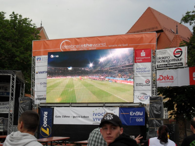 Ellwangen market square with big screen showing all World Cup matches.....brilliant!