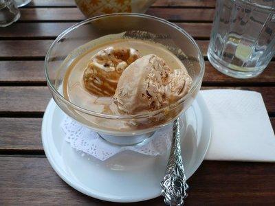Coffee ice cream in espresso. YUM.