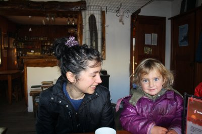 Laura made a small friend at one of the refugios we stayed over in.