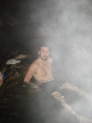 Enjoying a well deserved bath in the hot spring