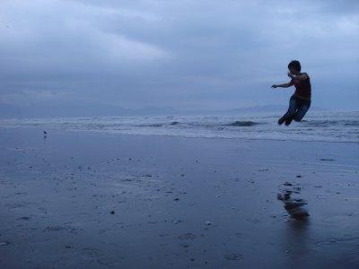Jumping on beach