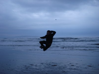 Jumping session on the beach in La Serena