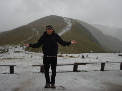 Huge hail storm on top of one of the mountains around Quito