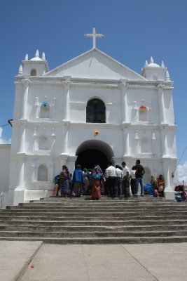 Busy time at the church in one of the villages in Atitlán