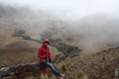 Me on the top: the fog and the silence kindly interrupted by the sound of a sheep