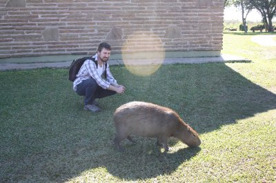 Henrik chilling with the worlds largest rodent