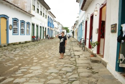 Pittoresque cobblestone street in Parati